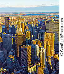 Aerial view from Empire State Building on Midtown East reflex