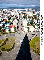 Aerial view on downtown of Reykjavik from Hallgrimskirkja church - Iceland.