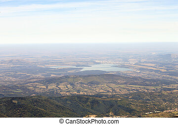 Aerial view from high in the mountain