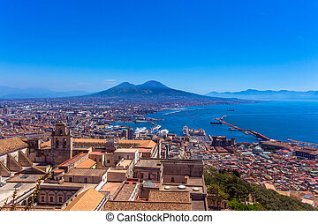 Aerial view from hilltop over Naples