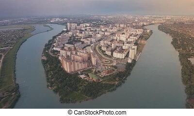 Aerial view from Krasnodar city, island