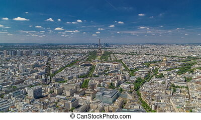 Aerial view from Montparnasse tower with Eiffel tower and La...