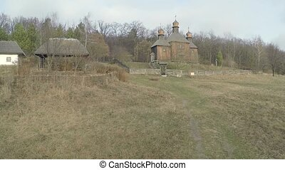 Aerial view from Quadcopter  of the historic village in Ukraine