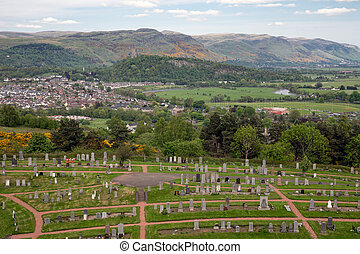Aerial view from Scottish Stirling Castle at town of Stirling