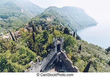 Aerial view from the Castello di Vezio on lake Como, Italy.