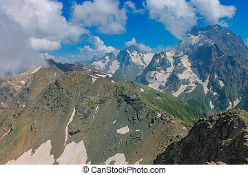 Aerial view from the drone. Summer mountain landscapes of Karachay Cherkessia, Dombay, Western Caucasus.