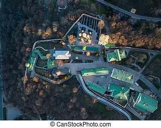 Aerial view from the drone to the Kiev Pechersk Lavra and historical building in city of Kiev, Ukraine. Top view.