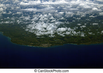 Aerial view from the plane over Punta Cana, Dominican Republic.