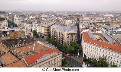 Aerial view from the Saint Istvan basilica to roadway in Budapest. Roofs of houses in the historical part of Budapest