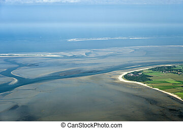 Aerial view from the Schleswig-Holstein Wadden Sea National...