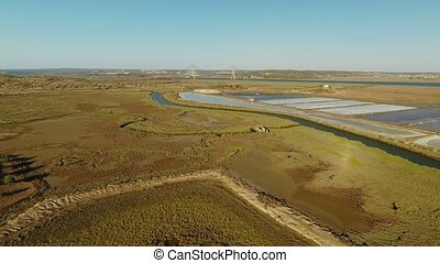 Aerial. View from the sky on the river bridge Guadiana, Vila...