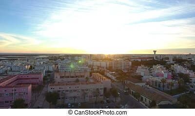 Aerial. View from the sky, the streets Alto Santo Antonio, of the city of Faro.