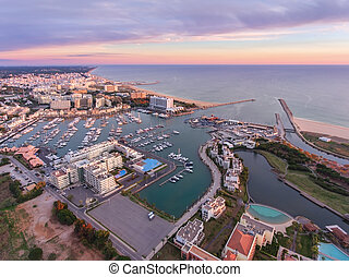 Aerial. View from the sky, the tourist resort Vilamoura. ...