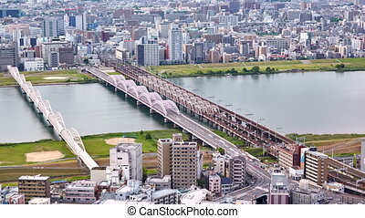 aerial view from Umeda Sky Building on the Yodo River, Osaka, Japan