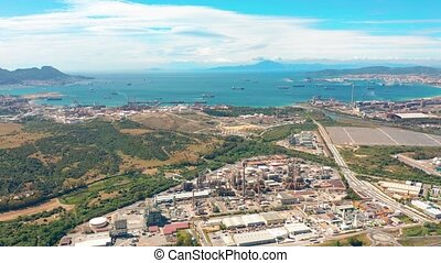 Aerial view. Gibraltar-San Roque Refinery, Southern Spain. -...
