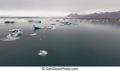 AERIAL VIEW GLACIER ICEBERGS - view from the bird's-eye view...