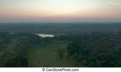 Aerial view. Golf Course at Sunset.