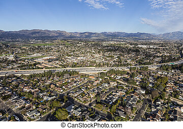 Aerial View Granada Hills in Los Angeles