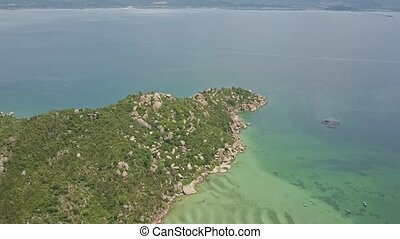 Aerial View Green Hilly Peninsula against Azure Ocean -...