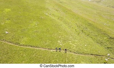 Aerial view group of tourist hiking on green meadow in summer mountain valley