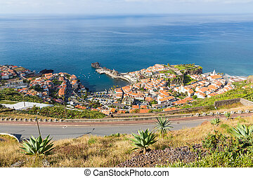 Aerial view harbor of Camara do Lobos at Madeira Island