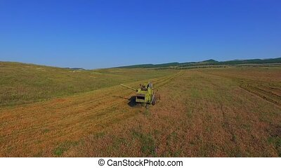 AERIAL VIEW. Harvester Combine Working On Ripe Field