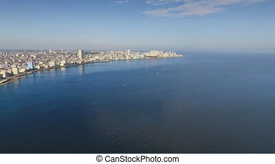 Aerial View Havana Skyline Caribbean Sea Cuba With Drone -...