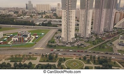 Aerial view high rise residential buildings in city. High rise apartment house