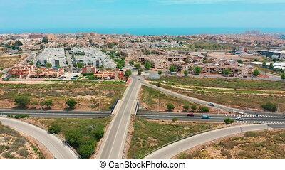 Aerial view. highway interchange, Spain - Aerial view....