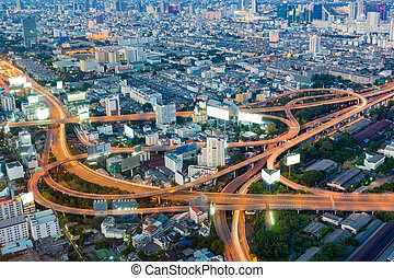 Aerial view, highway interchanged