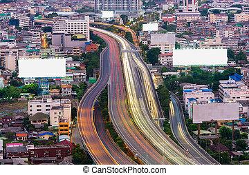Aerial view, Highway road