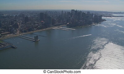 aerial view hudson river - aerial view manhattan from hudson...