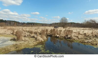 Aerial view - Hut on spring bog - Hut on spring bog - aerial...