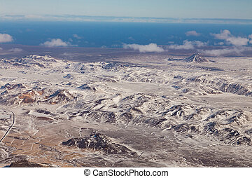 Aerial view, Iceland mountain in winter season