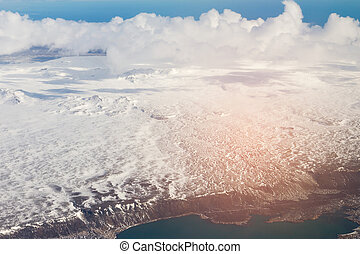 Aerial view Iceland winter season