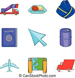 Aerial view icons set, cartoon style