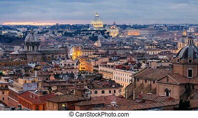 View in Historical Capital Rome with Landmarks Around River...