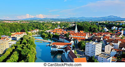 Aerial view in Kempten with a view of the Alps