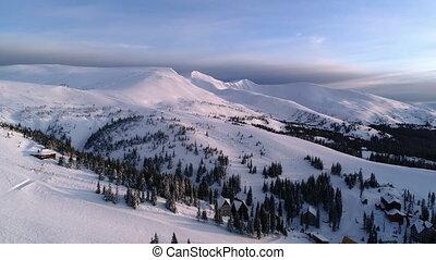 Aerial view in sunrise winter mountain - Winter Carpatians ...
