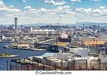 Aerial view industrial Kobe - Aerial view kobe cityscape and...