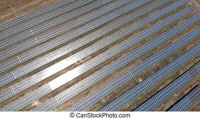 Aerial view industrial solar energy farm - Aerial view on...