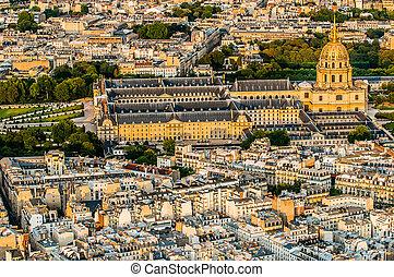 aerial view invalides paris cityscape France