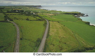 Aerial view Ireland roads: meadows, green fields with grains. Farms and houses surrounded by greenery on rocky shore of ocean bay. Irish countryside on summer evening. Rise up footage shot in 4K, UHD