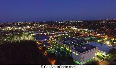 Aerial view kendall neighborhood Miami. tourism. Miami night