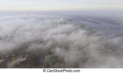 Aerial view Kiev-Pechersk Lavra in autumn, Kiev , Ukraine.