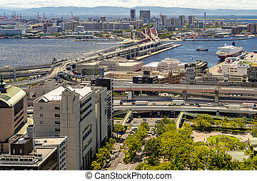 Aerial view Kobe Japan - Aerial view of Kobe cityscape and ...