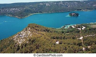 Aerial view Krka river, Croatia