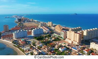 Aerial view. La Manga Peninsula Spain, Cartagena, Murcia. -...