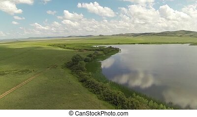 Aerial view lake in steppe