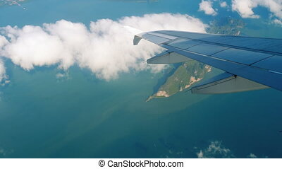 Aerial view landscape from descending airplane - Aerial view...